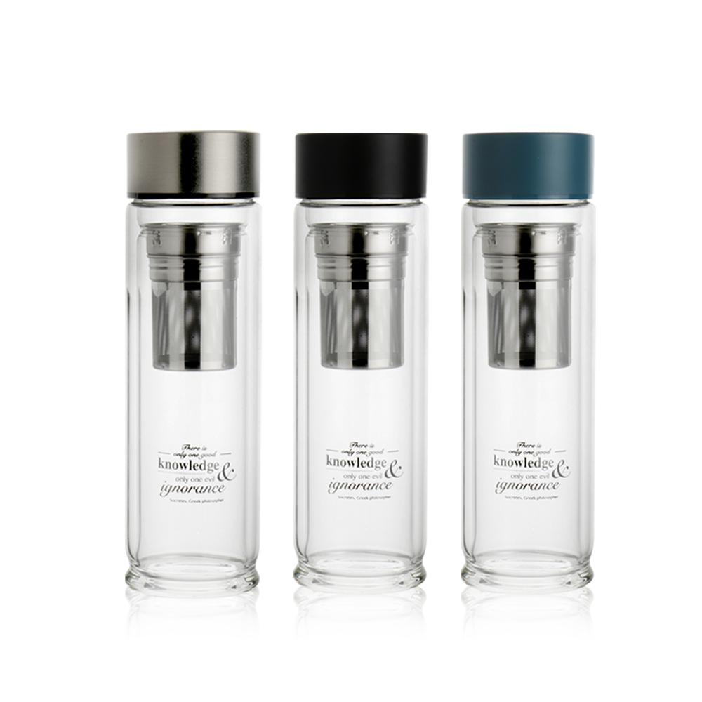 WOKY沃廚 專利蘇格拉底雙層玻璃瓶480ml附不鏽鋼濾網(3色可選)