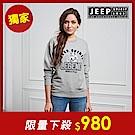JEEP 森林冒險立體刺繡長袖TEE-男女適穿 -灰色