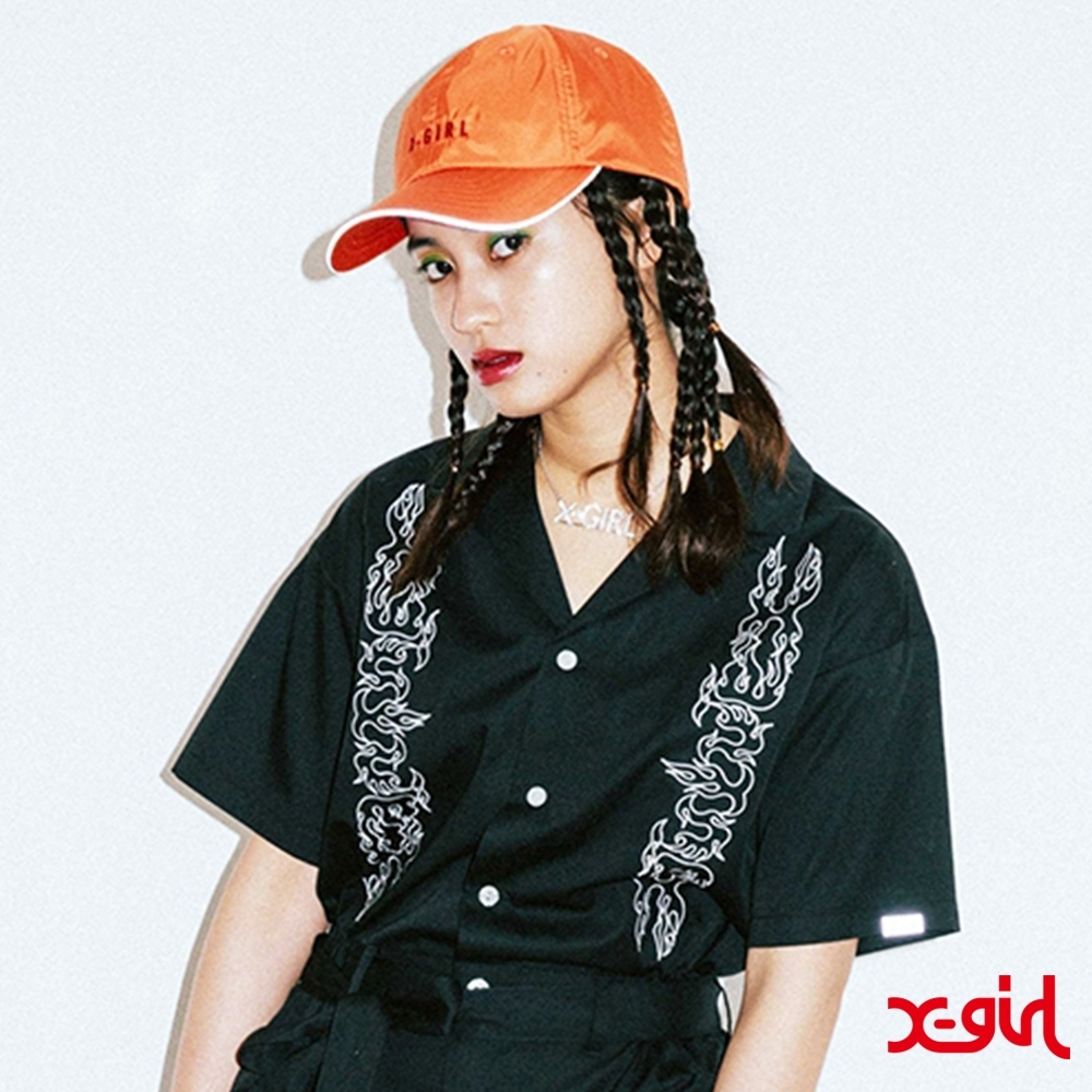 X-girl 1OPEN COLLAR EMBROIDERY連身褲-黑