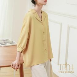 七分袖寬鬆長版襯衫-TMH