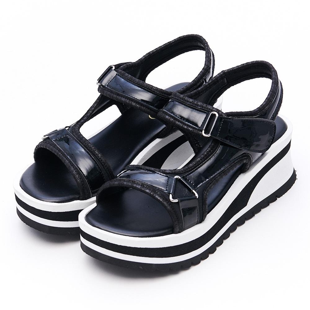 G.Ms. MIT系列-工字魔鬼氈牛漆皮厚底楔型涼鞋-黑色