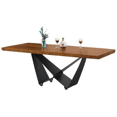 【AT HOME】工業風設計6尺原木實木鐵藝餐桌/工作桌/洽談桌(漫威)