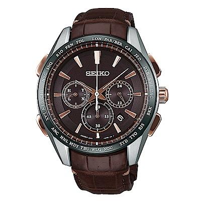 SEIKO 精工太陽能鈦金計時電波真皮手錶SAGA219J-咖啡/43.6mm