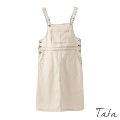 造型車線牛仔吊帶裙 共二色 TATA-(S/M)