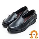 GEORGE 喬治皮鞋 素面厚底包鞋休閒鞋-黑色