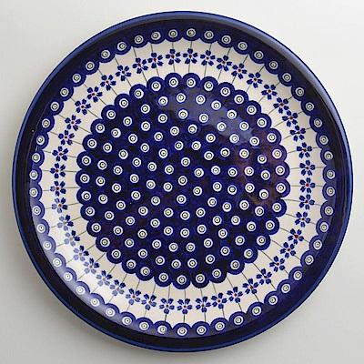 【波蘭陶 Zaklady】 藏青小卉系列 圓形餐盤 27cm 波蘭手工製