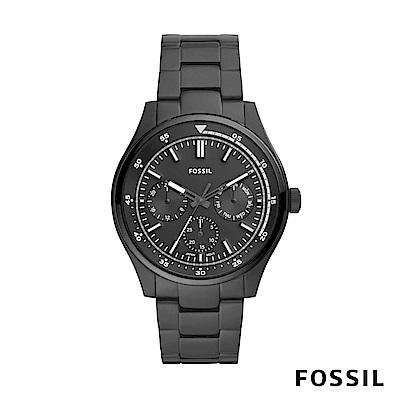 FOSSIL BELMAR 多功能三眼黑色不鏽鋼男錶 44mm FS5576