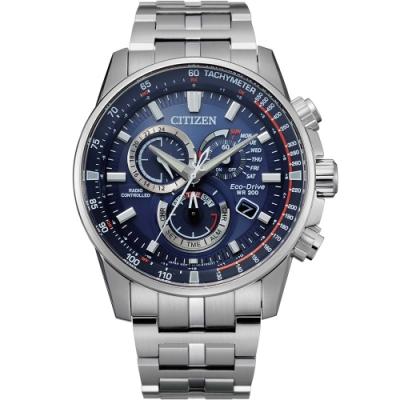 CITIZEN 星辰 沈穩藍男士光動能電波腕錶(CB5880-54L)43mm