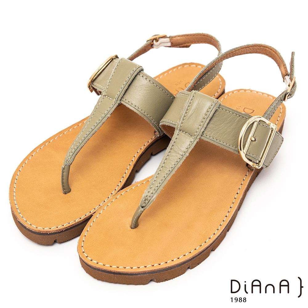 DIANA真皮金屬D字釦可調繫帶平底夾腳涼鞋裝飾-異國風情-淺綠
