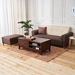 時尚屋 布萊茲L型雙色透氣貓抓皮沙發 (共3色)+艾丹茶几