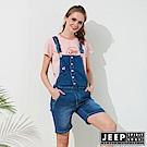 JEEP 女裝 甜美女孩造型休閒吊帶短褲-牛仔藍