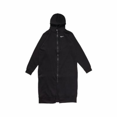 Nike 外套 Long Full-Zip Fleece 女款 長版 連帽 雙拉鍊 穿搭 寬鬆 內刷毛 黑 白 CU7071010