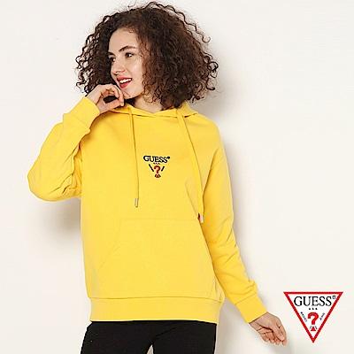 GUESS-女裝-logo文字印刷帽T-黃
