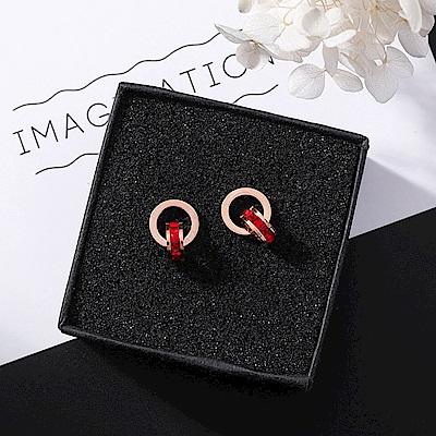 梨花HANA  閃亮紅色水鑽玫瑰金鈦鋼羅馬數字耳環