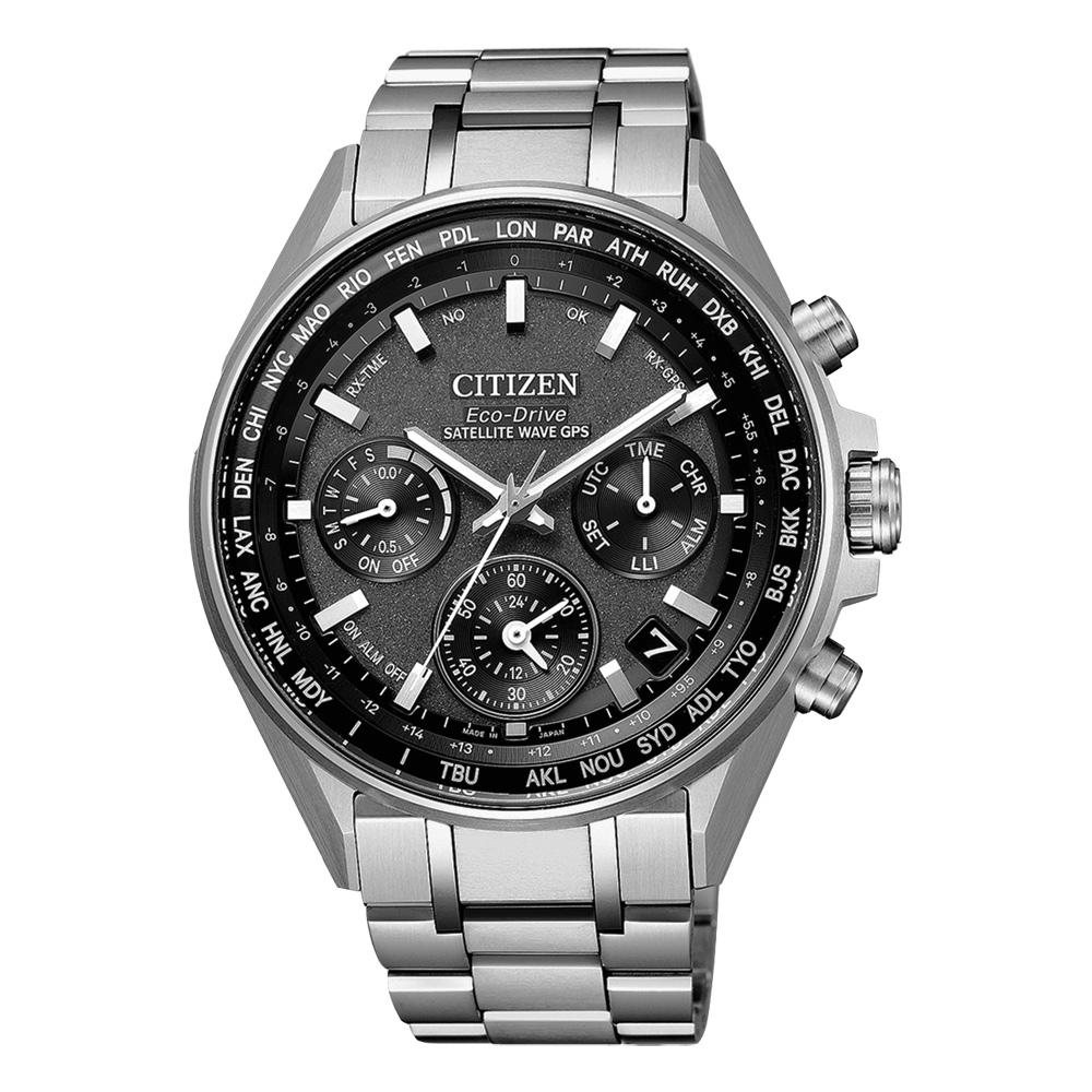 CITIZEN 光動能衛星報時站三眼腕錶-銀X黑(CC4000-59E)/44mm