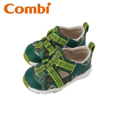 日本Combi童鞋 活力迷彩幼兒機能涼鞋-青草綠