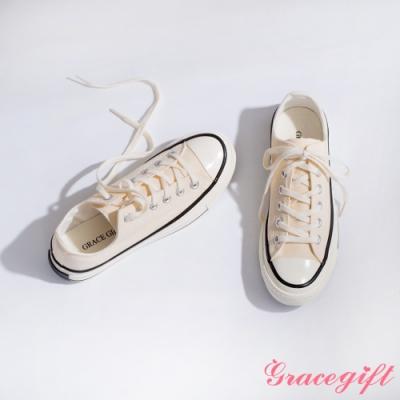 Grace gift-微厚底車線綁帶帆布鞋 米白