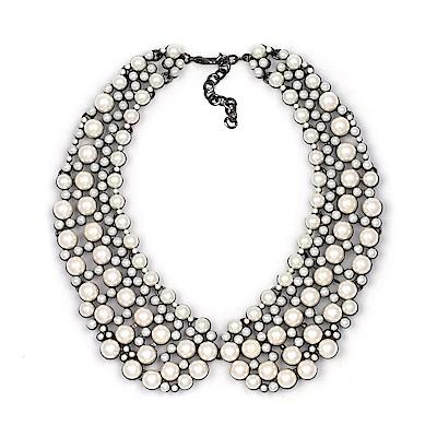 RJ New York奢華珍珠晶鑽假領結短頸鍊 3色可選