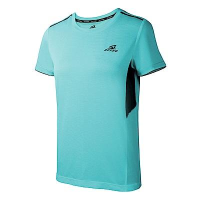 【ZEPRO】女子素面拼接運動短袖上衣-水藍