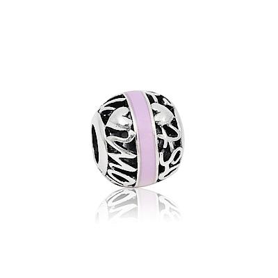 Pandora潘朵拉圓形鏤空字母粉色琺瑯純銀墜飾串珠