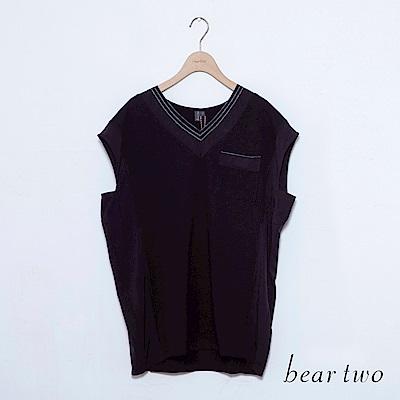 beartwo V領條紋寬無袖素面上衣(二色)