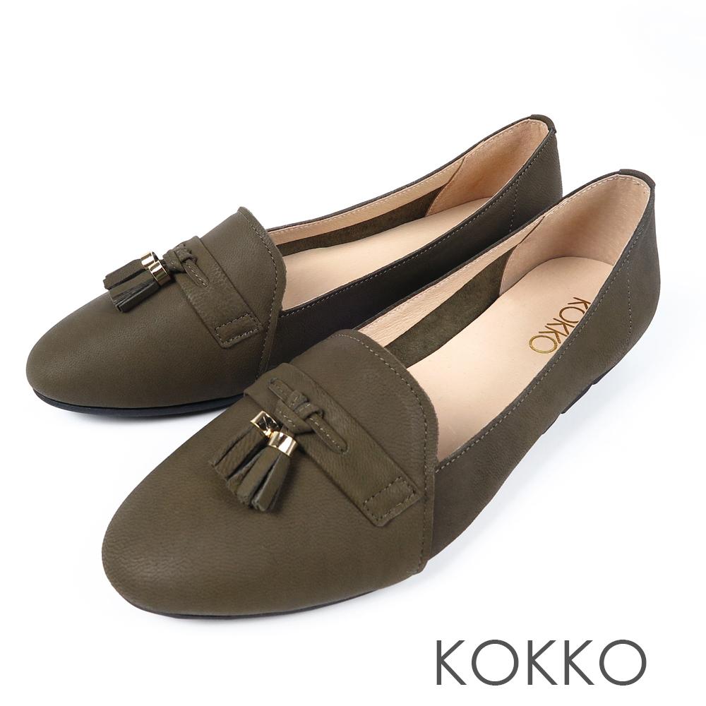 KOKKO -與長夜共舞小流蘇柔軟樂福鞋-祖母綠