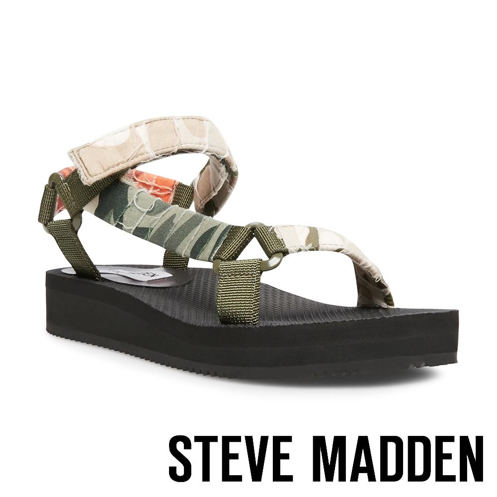 STEVE MADDEN-HENLEY 戶外款交叉魔鬼氈厚底涼鞋-迷彩