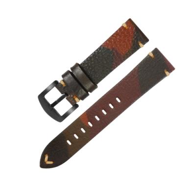 Watchband / 各品牌通用 復刻迷彩 舒適百搭 真皮錶帶 深棕色