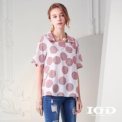 IGD英格麗 純棉圓點細條印花方領襯衫上衣