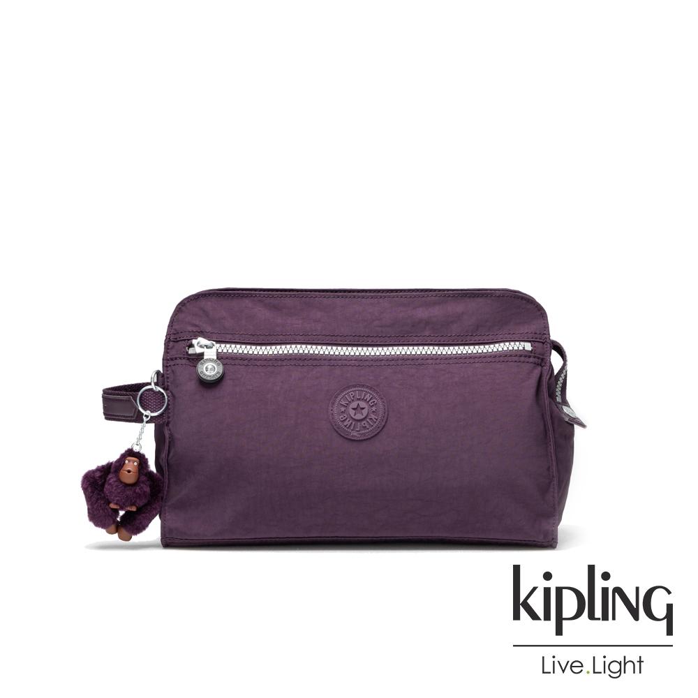 Kipling深紫素面手拿包-TRIM