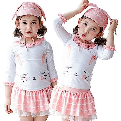 JoyNa兒童泳裝 兒童泳衣小白兔公主裙式防曬三件套組