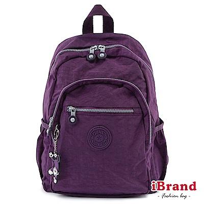 iBrand後背包 趣味派對尼龍口袋後背包-神秘紫
