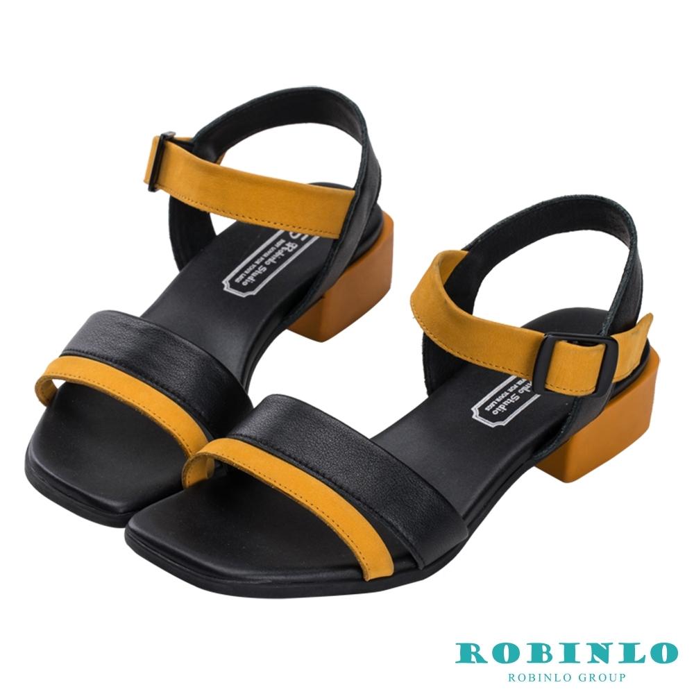 Robinlo個性撞色一字繫帶低跟涼拖鞋 黃/黑色
