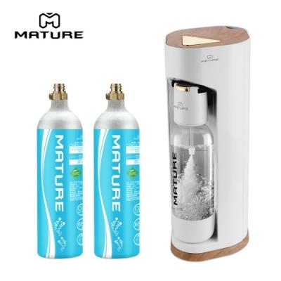 MATURE美萃 Luxury440系列氣泡水機-木華白 680g氣瓶2入組