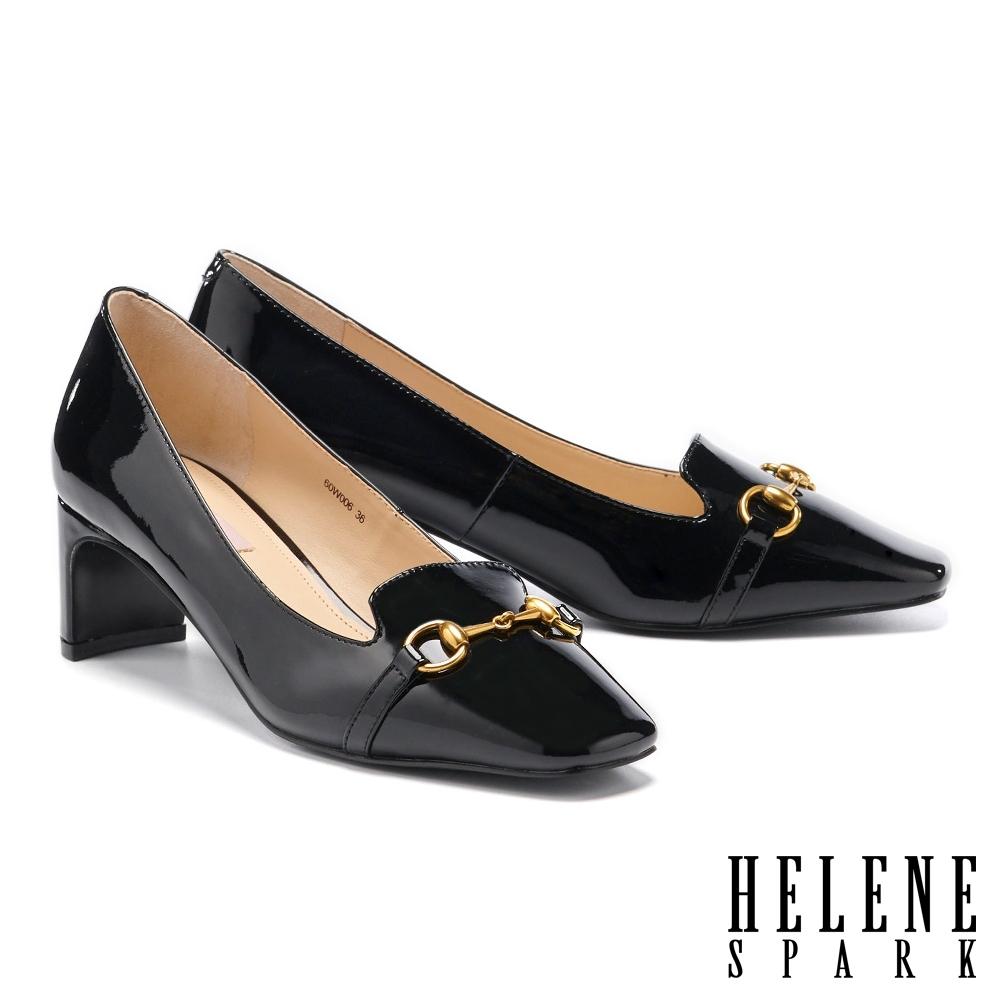 高跟鞋 HELENE SPARK 知性時尚馬銜釦方頭高跟鞋-黑
