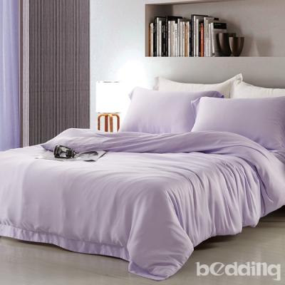 BEDDING-60支100%天絲-6x7尺特大薄床包鋪棉兩用被套四件組-愛之永恆-紫