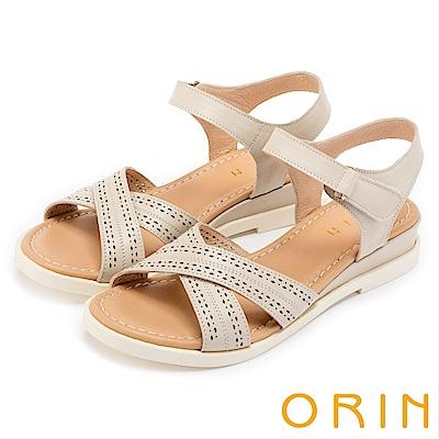ORIN 愜意渡假風情 皮革洞洞條帶魔鬼氈厚底涼鞋-米色