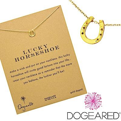 Dogeared 雙邊馬蹄 lucky horseshoe 金色許願項鍊 附原廠盒