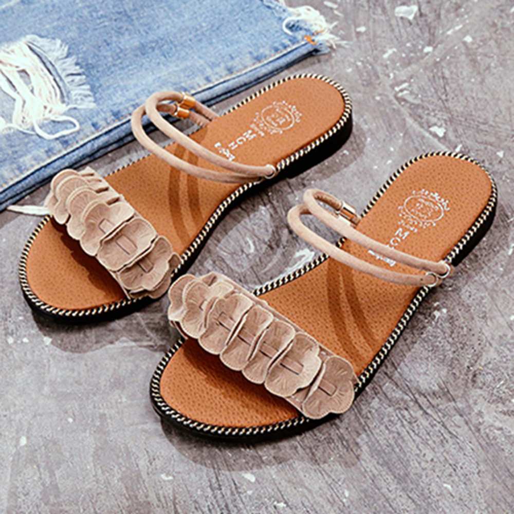 韓國KW美鞋館 甜心獨家超輕量平底涼鞋-米色