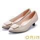ORIN 梯形金屬釦環羊皮 女 低跟鞋 米色 product thumbnail 1