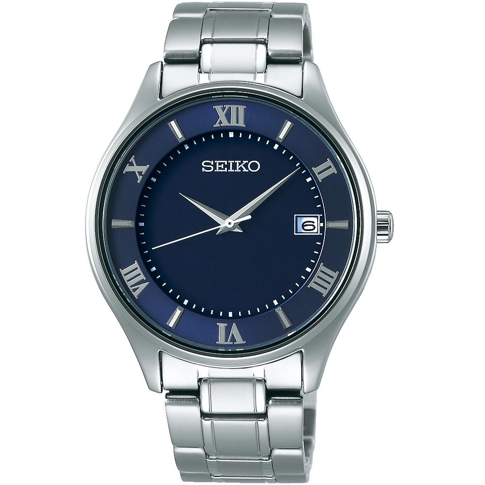 SEIKO精工SPIRIT簡約羅馬太陽能鈦金屬腕錶(SBPX115J)-藍