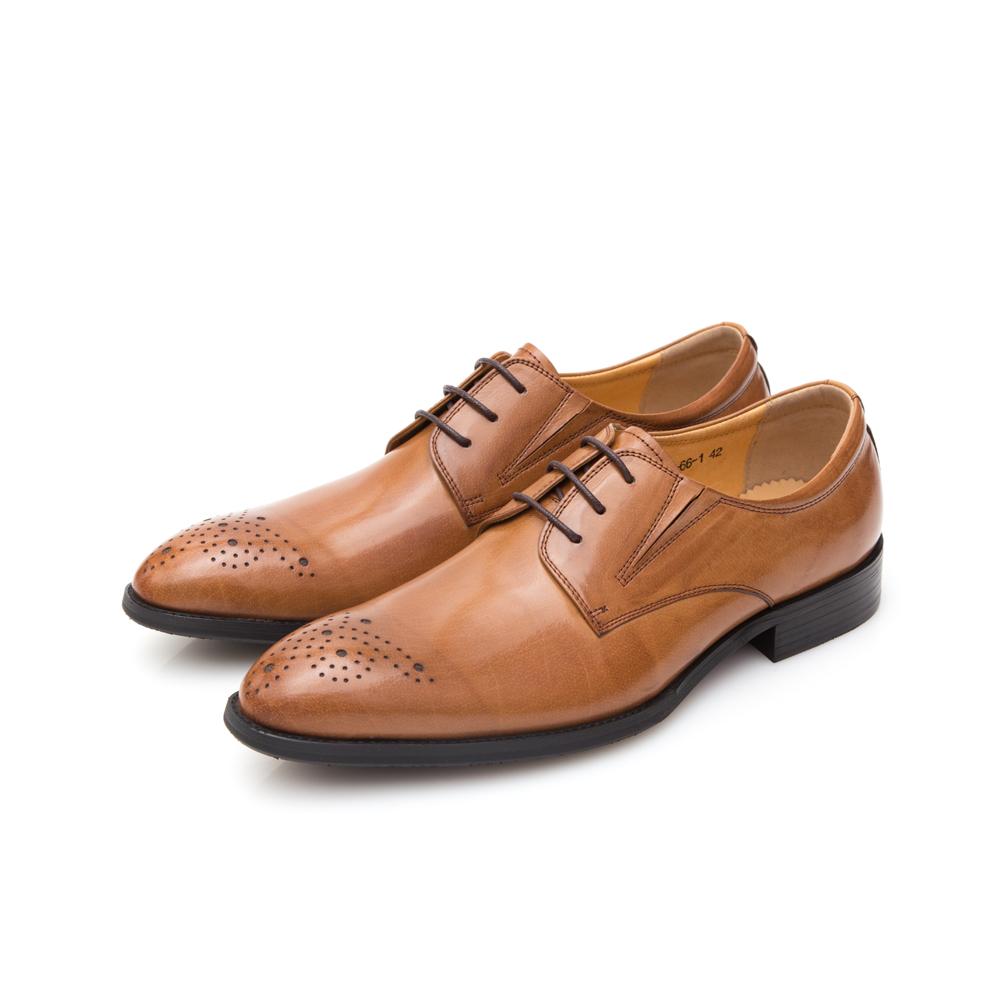 ALLEGREZZA真皮男鞋-品味展現-鞋頭雕花復古刷色德比鞋 焦糖色