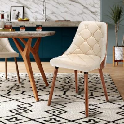 E-home Jasper賈斯帕拉扣曲木餐椅 白色