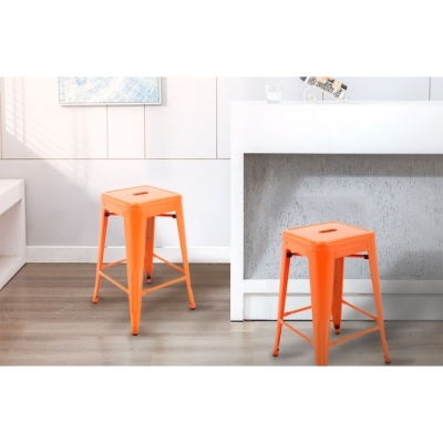 E-home Vali瓦力工業風可堆疊金屬吧檯椅-高61cm 橘色