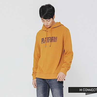 H:CONNECT 韓國品牌 男裝-休閒質感印字帽T-黃