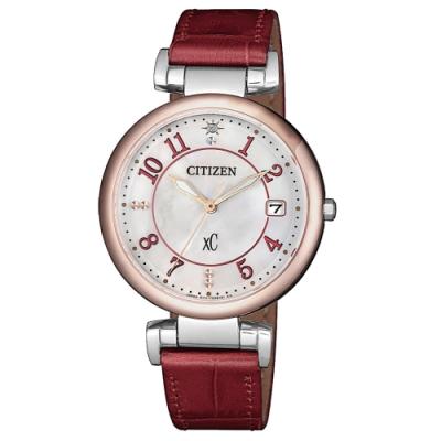 CITIZEN xC光動能閃耀時刻腕錶-酒紅(EO1196-07W)33mm