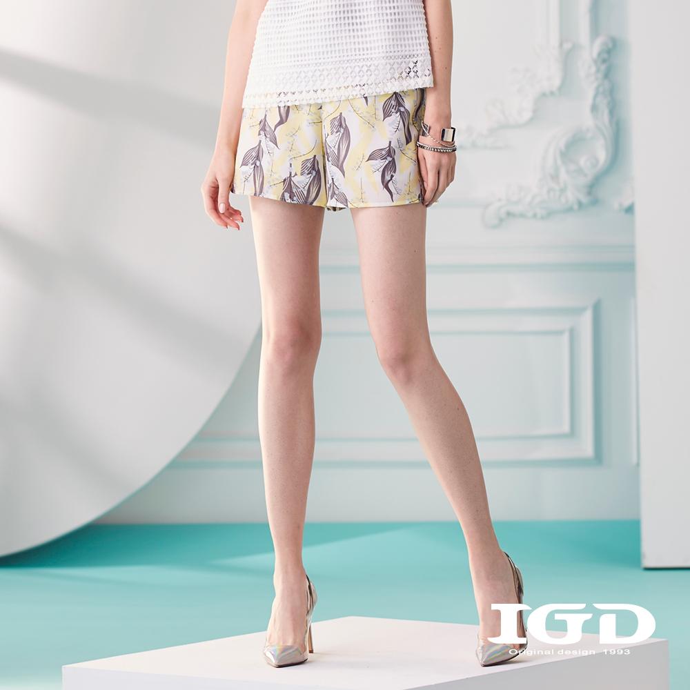 IGD英格麗 優雅撞色拼接花卉短褲-白色