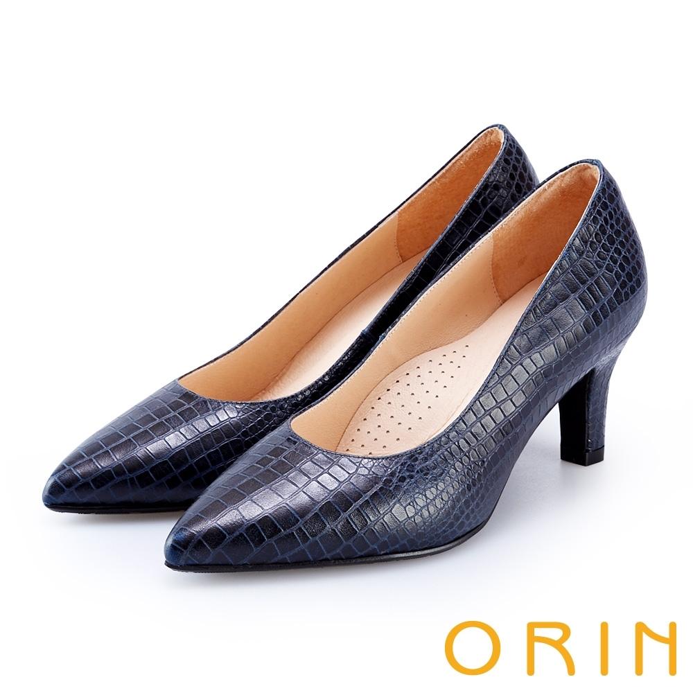 ORIN 壓紋牛皮素面尖頭高跟鞋 藍色