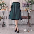 東京著衣-yoco 漫步春日側拉鍊打結厚雪紡膝下裙-S.M.L(共二色)