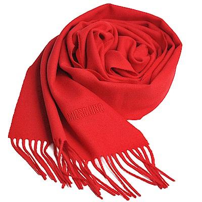 MOSCHINO 義大利製美麗諾羊毛字母LOGO刺繡高質感羊毛圍巾(紅)